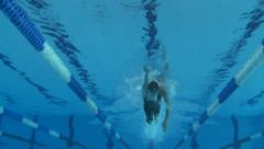 Man swimming crawl style - view from underwater Stock Footage