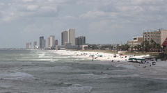 Coastline Looking West from County Pier - Panama City Beach, Florida - stock footage