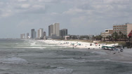 Stock Video Footage of Coastline Looking West from County Pier - Panama City Beach, Florida
