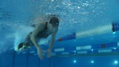 Man swimmer, swimming butterfly style - underwater shot Stock Footage