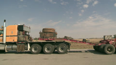Transportation, oversize load 192 wheel transport pan Stock Footage