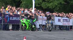 Sport bike stunts, Slow Motion 7 Stock Footage