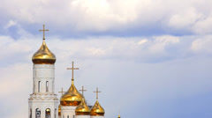 Cathedral domes at passing clouds background Stock Footage