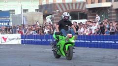 Sport bike stunts, Slow Motion 3 Stock Footage
