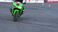 Sport bike stunts, Slow Motion 1 Stock Footage