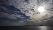 Sunset clouds,sunlight reflect on sea skyline. Stock Footage