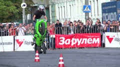 Stunts on a motorcycle, Slow Motion 6 Stock Footage