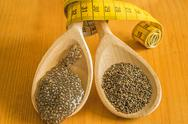Stock Photo of chia seeds and seed gelatin for diet