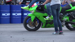 Stunts on a motorcycle, Slow Motion 4 Stock Footage