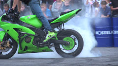Stunts on a motorcycle, Slow Motion 1 Stock Footage