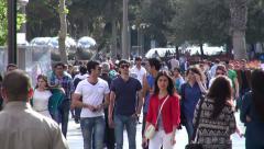 People stroll through Baku city, Azerbaijan - stock footage