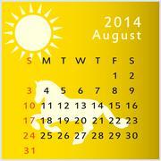 vector calendar 2014 august - stock illustration