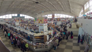 Stock Video Footage of Food market rush hour. Slider, zoom, time-lapse shot