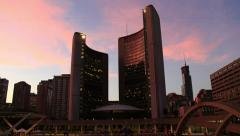 Toronto City Hall Sunset Timelapse 1 (4K) Stock Footage