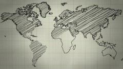 World Map Drawing Background Stock Footage