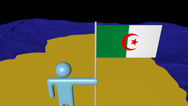 Stock Video Footage of Man with flag on Algeria map in ocean animation