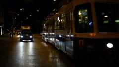 Tram passing early morning - stock footage