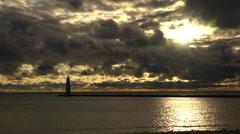 Lake Michigan Lighthouse Timelapse at Sunset Stock Footage