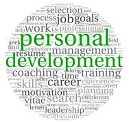 Personal development and career concept in word tag cloud on white Stock Illustration
