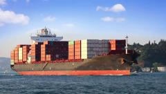 Cargo ship full of containers  - stock footage