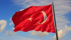 Turkish Flag on blue sky Stock Footage