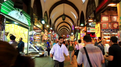 Shopping in covered market Stock Footage