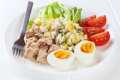 a small meal of 280 calories, or 1046 kilojoules, consisting of half a can of - stock photo