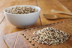 Quinoa and amaranth grains Stock Photos