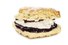 white chocolate scone with jam and cream - stock photo