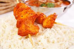chicken tikka and basmati rice - stock photo