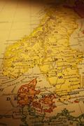 kartta Tanska Ruotsi Norja vanha pystysuora - stock photo