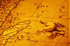 old map of africa madagascar with sea monster - stock photo