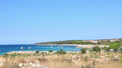 Typical Adriatic Beach, Gajac Croatia. Stock Footage