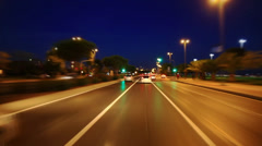 Driving on coast way at night Stock Footage