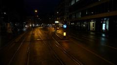 Traveling through street of Zurich at Night Stock Footage