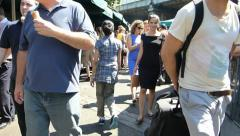Navigating & shooting video at Borough Market, London, UK Stock Footage