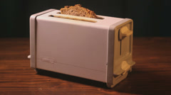 Bread in the toaster, Closeup Stock Footage