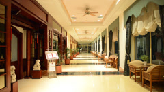 The entrance in restaurant and interior of luxury hotel Stock Footage
