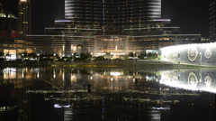 The view on Burj Khalifa and man-made lake Stock Footage