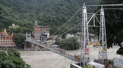 Rishikesh And Laxman Jhula Stock Footage