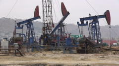 Oil derricks in Baku, Azerbaijan Stock Footage
