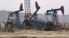 Oil derricks in Baku, Azerbaijan - stock footage