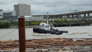 Stock Video Footage of Fraser River Tugboat.