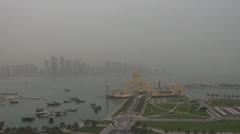 Museum of Islamic Art traffic car twilight Doha Qatar aerial view boats sea Stock Footage