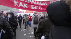"Protesters with banners: ""Freedom for political prisoners"", ""For self-government Stock Footage"