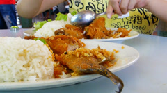 Eating Ayam Penyet and Ikan Penyet with rice.(SPLITING A FRIED FISH) Stock Footage