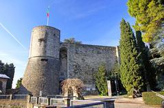 Castle (La Rocca) in Bergamo - stock photo