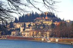 Castel San Pietro and Adige river in Verona Stock Photos