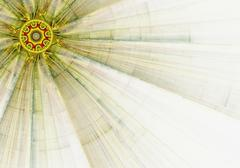 computer generated illustration rendered fractal solar yellow - stock illustration
