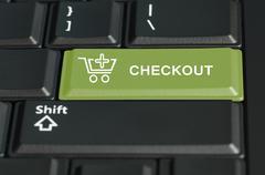 checkout button on enter key - stock photo